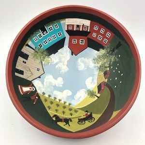 Other - HAND PAINTED FOLK ART AMISH SCENE WOODEN BOWL
